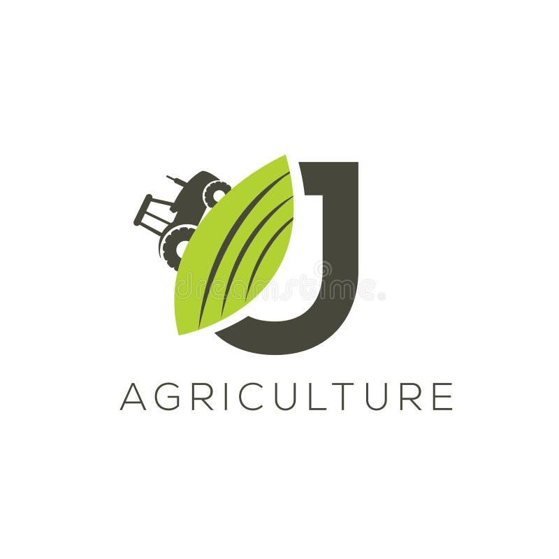 Rolnictwo loga list J Ciągnikowa ikona Zielonego jedzenia emblemat royalty ilustracja