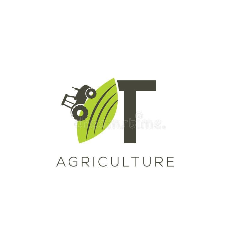 Rolnictwo loga list T Ciągnikowa ikona Zielonego jedzenia emblemat royalty ilustracja