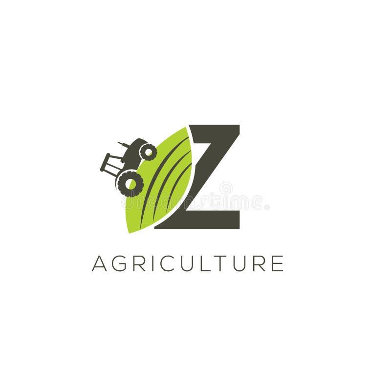 Rolnictwo loga list Z Ciągnikowa ikona Zielonego jedzenia emblemat royalty ilustracja