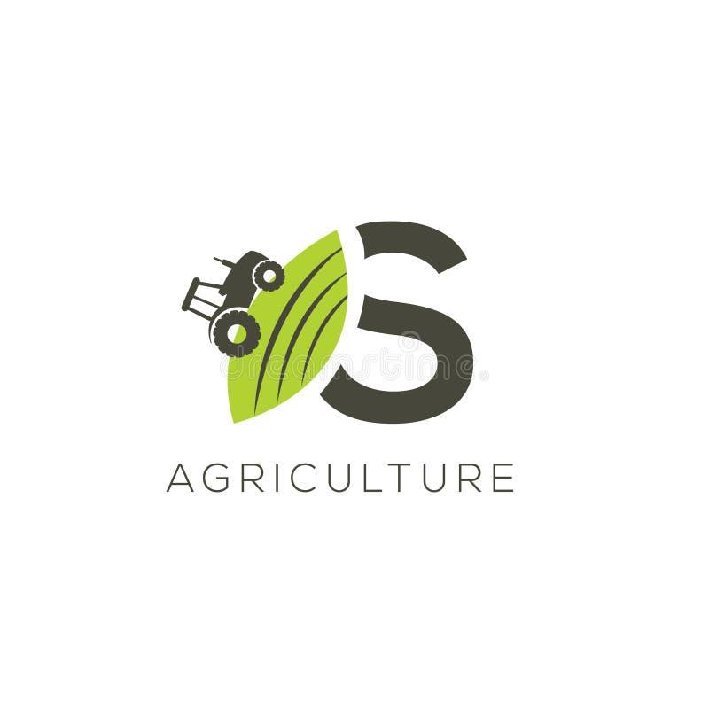 Rolnictwo logo listowy S Ciągnikowa ikona Zielonego jedzenia emblemat ilustracja wektor