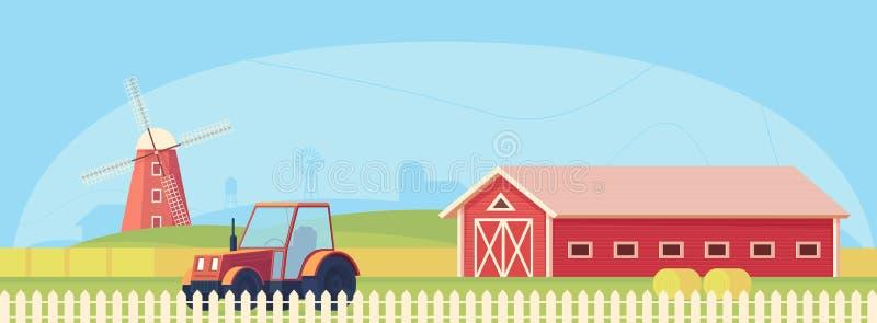 Rolnictwo Rolny krajobraz z czerwoną stajnią, ciągnikiem i wiatraczkiem, ilustracji