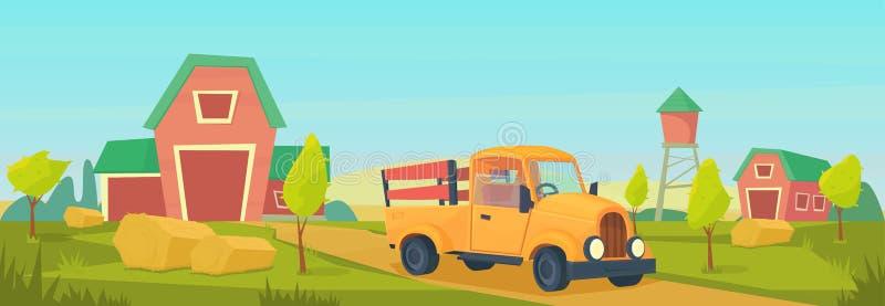 Rolnictwo Rolny wiejski krajobraz z pomarańcze ciężarówką, czerwoną stajnia, dom, rancho, wieża ciśnień i haystack, ilustracji