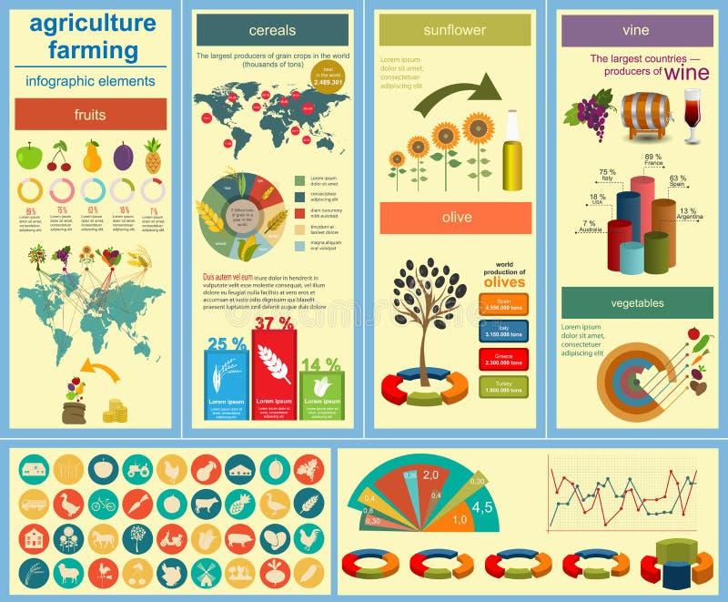 Rolnictwo, uprawia ziemię infographics ilustracja wektor