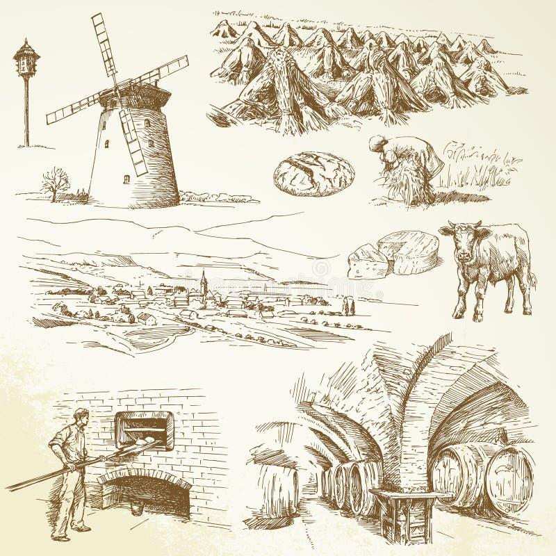 Rolnictwo, wioska royalty ilustracja