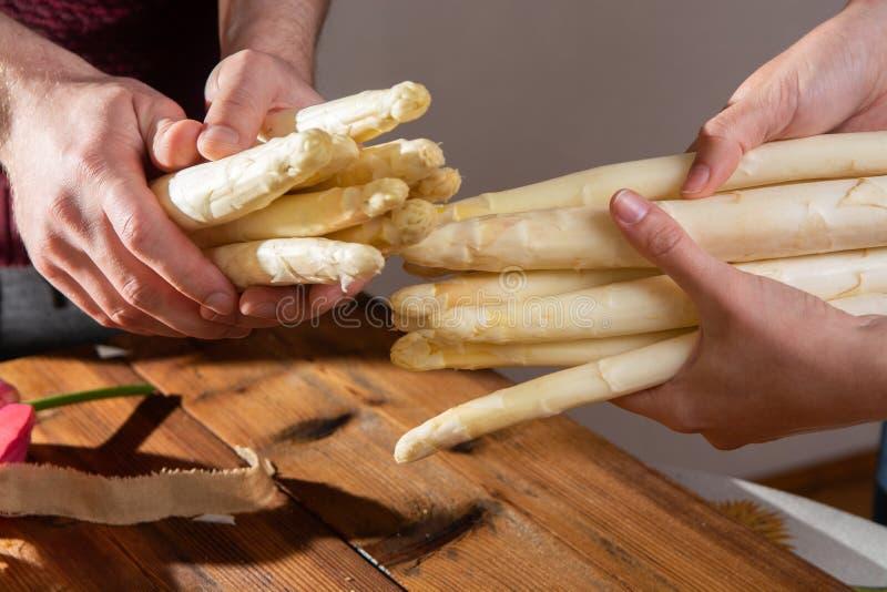 Rolnicy trzyma świeżych smakowitych białych asparagusy w rękach, sezonowy warzywo, nowy żniwo, przygotowywają gotować zdjęcia royalty free