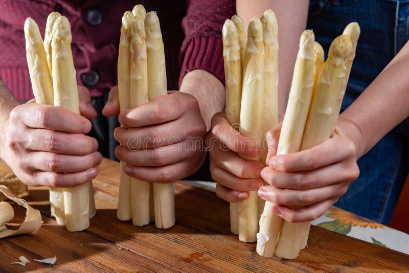Rolnicy trzyma świeżych smakowitych białych asparagusy w rękach, sezonowy warzywo, nowy żniwo, przygotowywają gotować fotografia royalty free