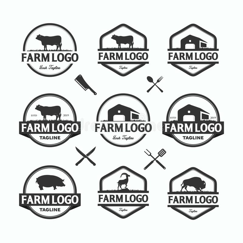 Rolnicy wprowadza? na rynek logo szablon?w wektorowych przedmioty ustawiaj?cych Logotypy lub odznaka projekt ilustracji