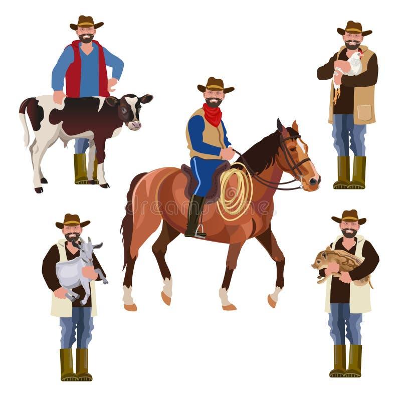 Rolnicy z zwierzętami domowymi ilustracji