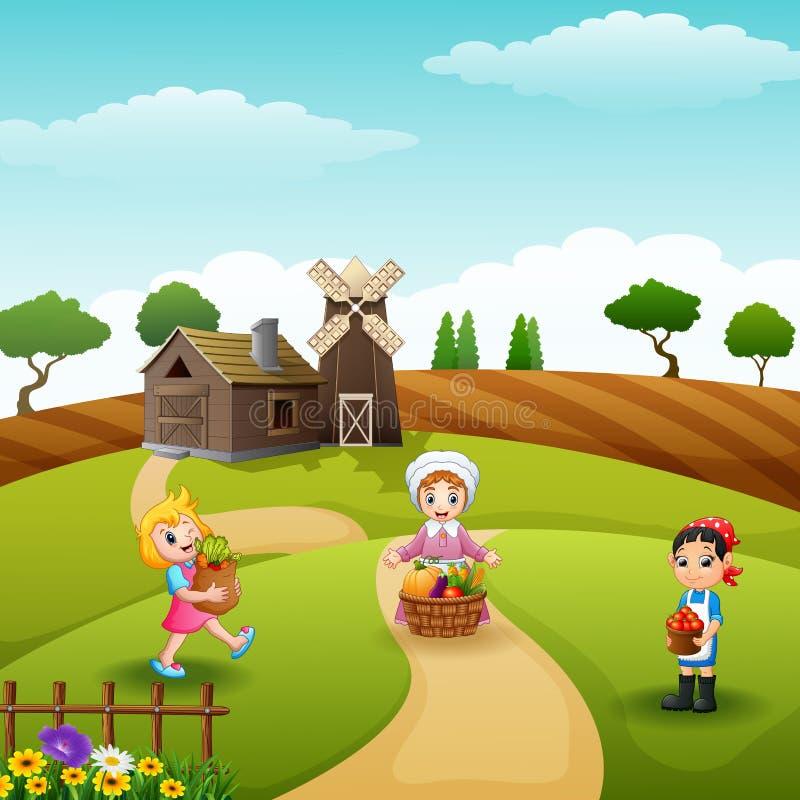Rolnicy zbierający w gospodarstwie rolnym ilustracji