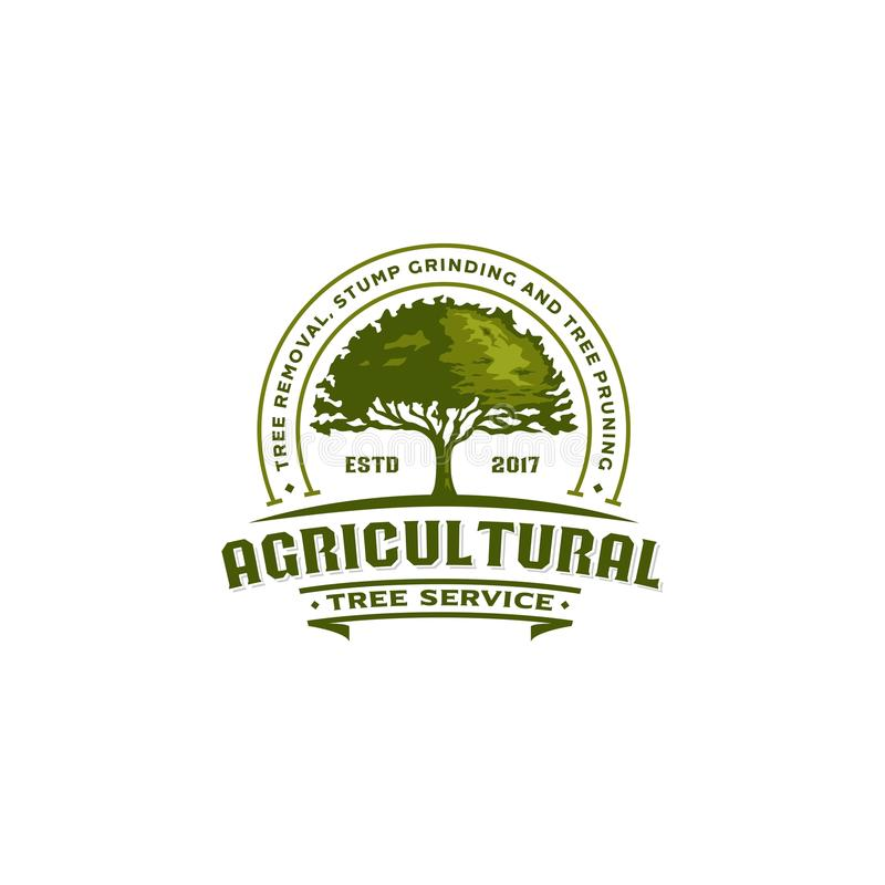 Rolnicza drzewna rocznika loga odznaka royalty ilustracja