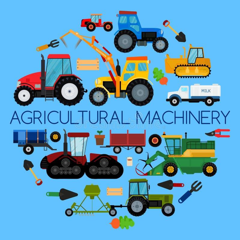 Rolniczego pojazdu rolny wyposażenie, maszyna wektoru ilustracja Ciągniki, żniwiarzi, łączą Rolnictwo biznes ilustracji