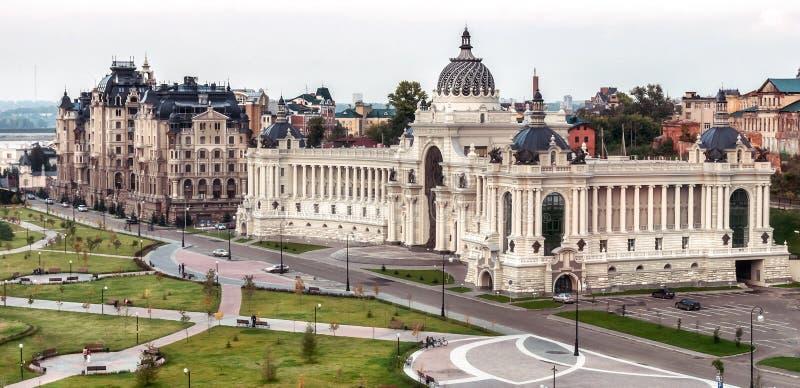 Rolniczy pałac widok z lotu ptaka na bulwarze Kazanka, Kazan, Rosja fotografia stock