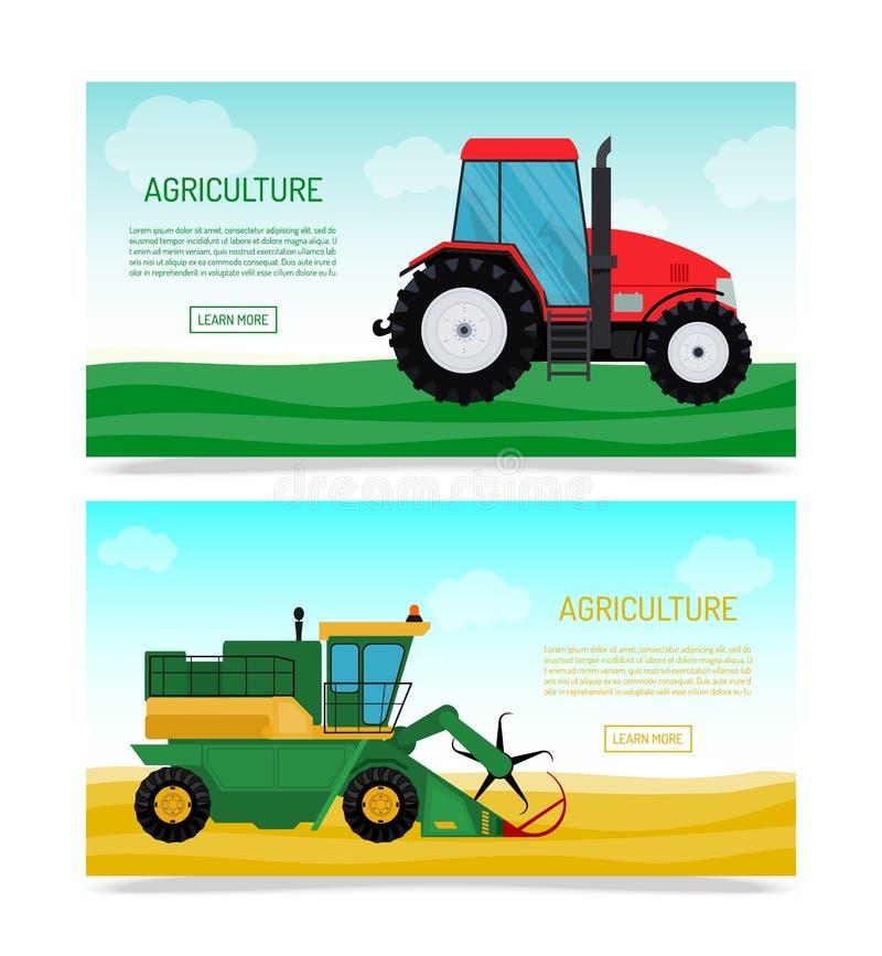 Rolniczy pojazdy i rolne maszyny ustawiający sztandaru wektoru ilustracja Ciągniki, żniwiarzi, łączą Rolnictwo royalty ilustracja