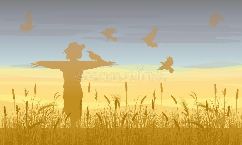 Rolniczy Pszenicznego pola krajobrazu szablon ilustracja wektor