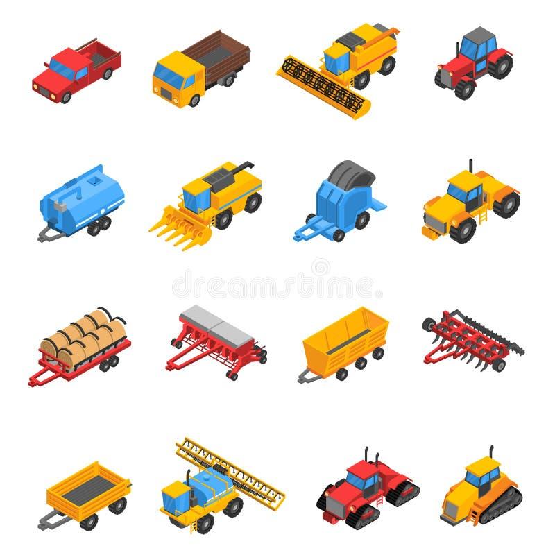 Rolniczych maszyn ikony Isometric set ilustracja wektor