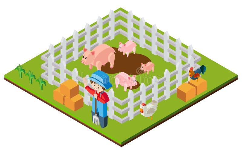 Rolnik i świnie w 3D projekcie ilustracji