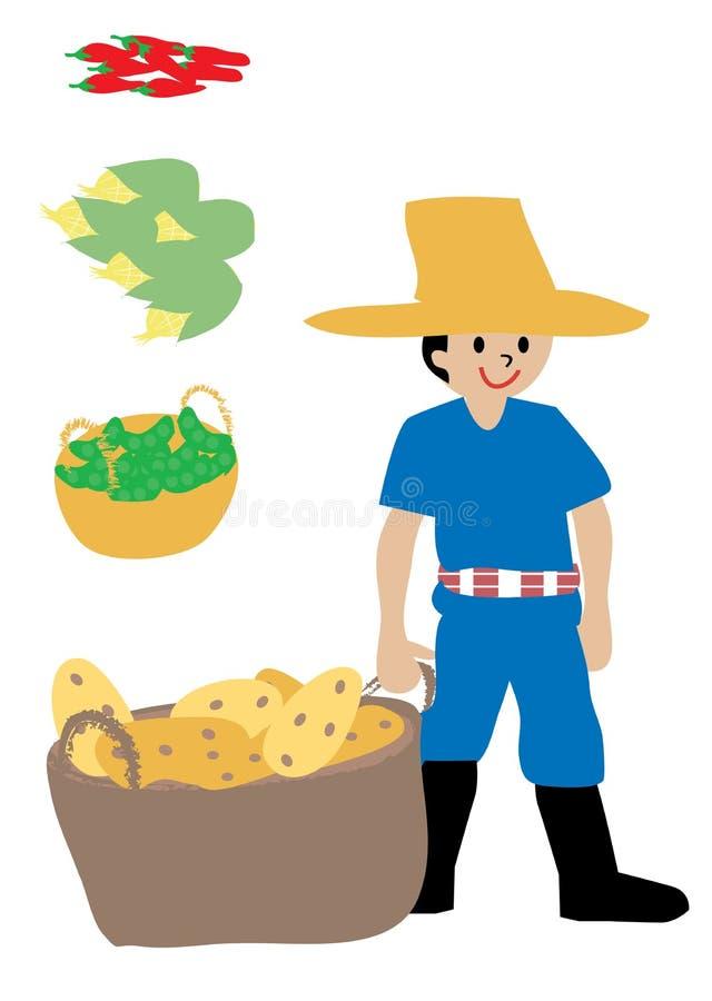 Rolnik i jego uprawy royalty ilustracja