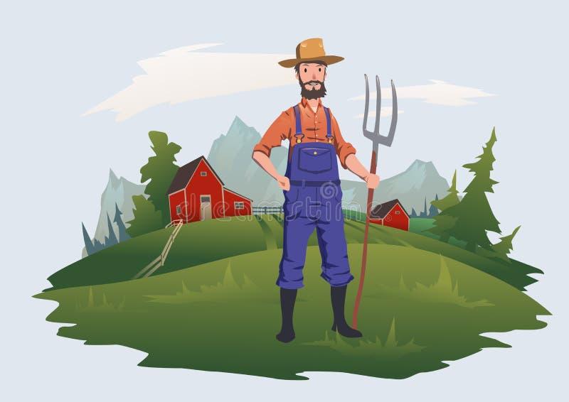 Rolnik, mężczyzna z pitchfork pozycją na gospodarstwie rolnym w góra krajobrazie Uprawiać ziemię, rolnictwo Wektorowa ilustracja, royalty ilustracja