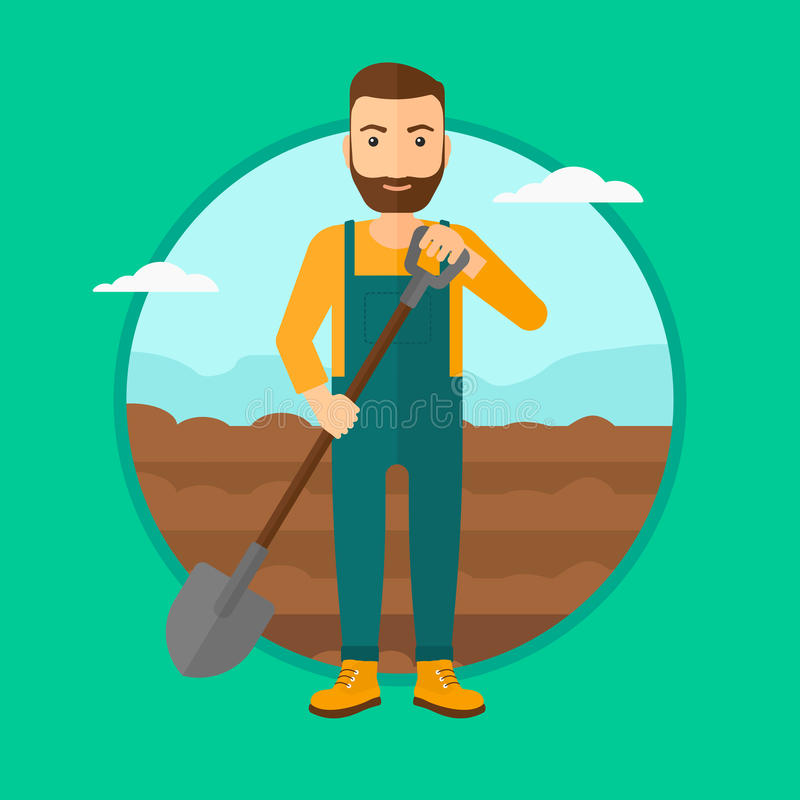 Rolnik na polu z łopatą ilustracji