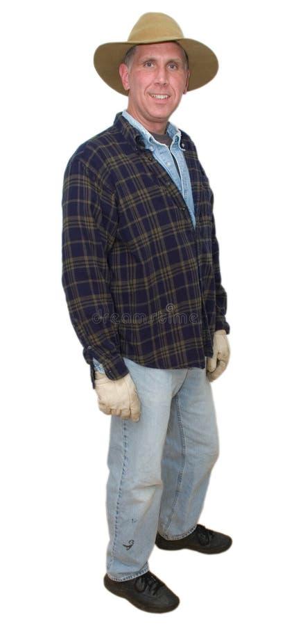 rolnik odizolowywający laborer mężczyzna uśmiechnięty pracownik fotografia royalty free