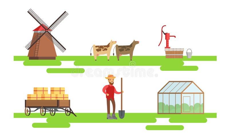 Rolnik płci męskiej pracujący w gospodarstwie rolnym, Eco Farm Elements, Animals, Greenhouse, Windmill Vector Ilustracja royalty ilustracja