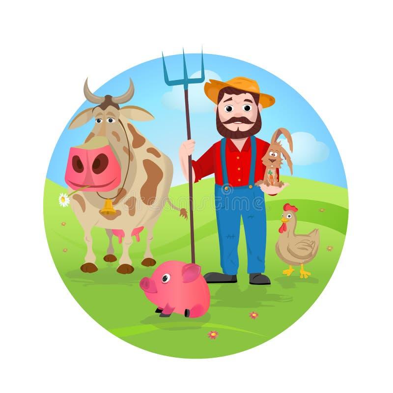 Rolnik przy jego gospodarstwem rolnym z wiązką zwierzęta gospodarskie ilustracja wektor