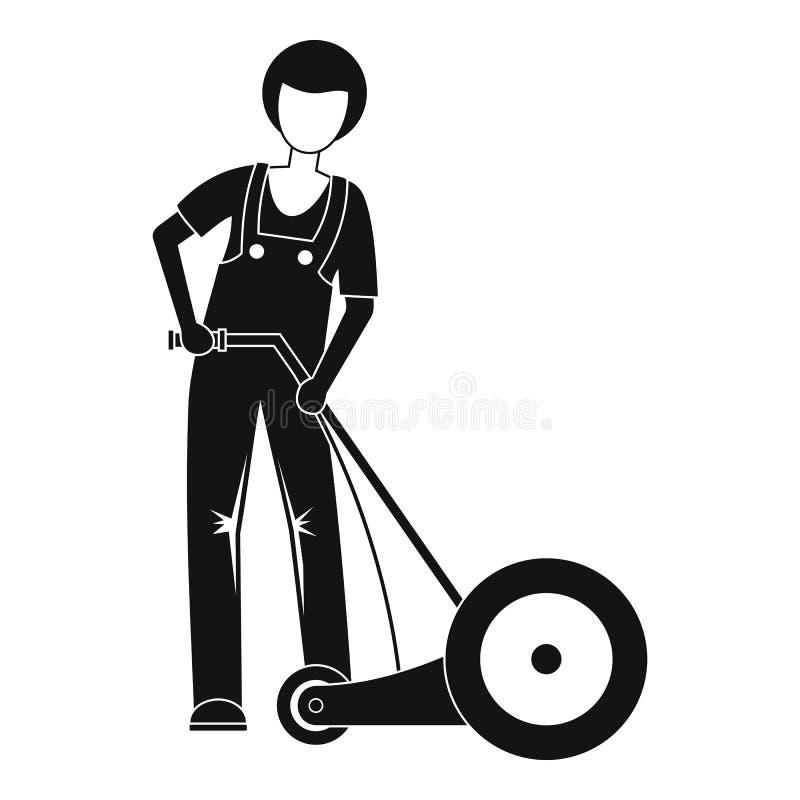 Rolnik trawy rżnięta ikona, prosty styl ilustracja wektor