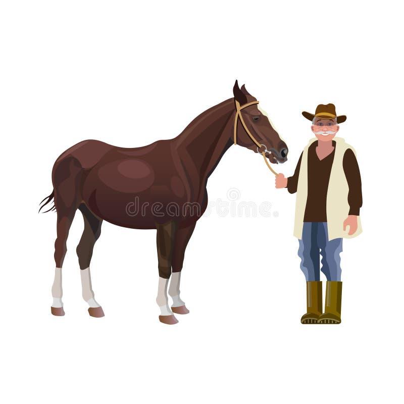 Rolnik trzyma konia ilustracji