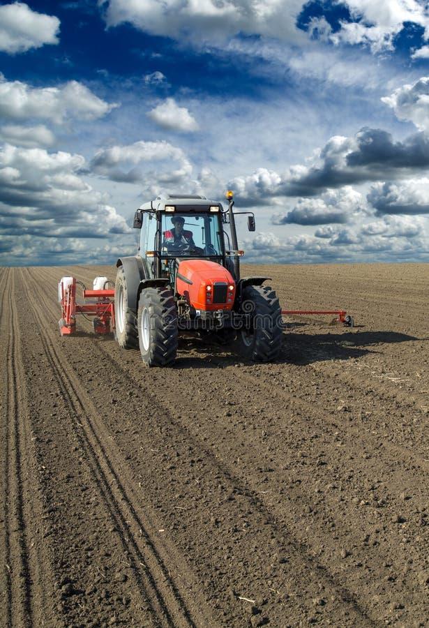 Rolnik w ciągnikowych wysiewnych kukurydzanych kukurydz uprawach zdjęcia royalty free