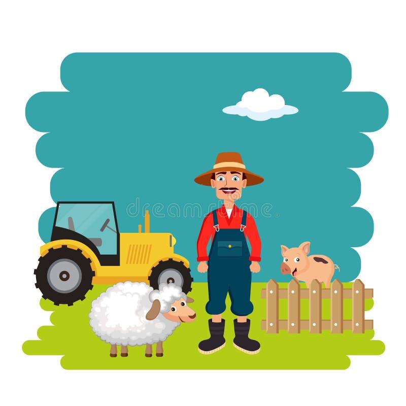 Rolnik w rolnej scenie P?aska wektorowa ilustracja ilustracji