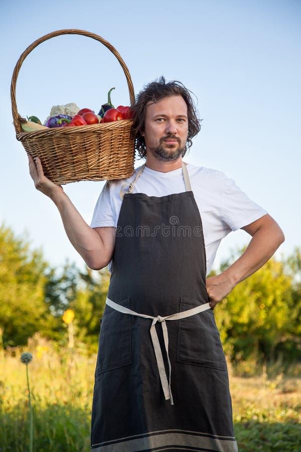 Rolnik z ekologicznym żniwem warzywa w koszu blisko obrazy stock