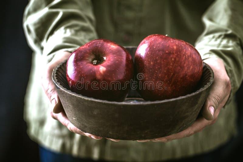 Rolnik z jabłkami obraz royalty free
