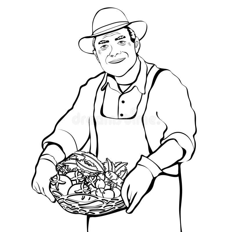 Rolnik z koszem świeżych warzyw konturowy rysunek, kolorystyka, czarny i biały wektorowa ilustracja, kontur kreskówki rysunek royalty ilustracja