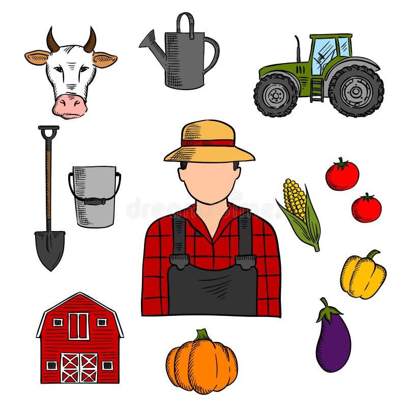 Rolnik z rolnictwem i uprawiać ziemię ikonami ilustracja wektor