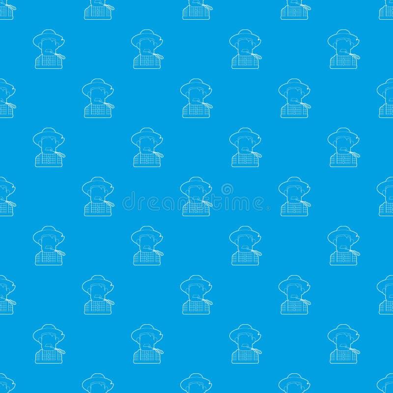 Rolnika deseniowy wektorowy bezszwowy błękit ilustracja wektor