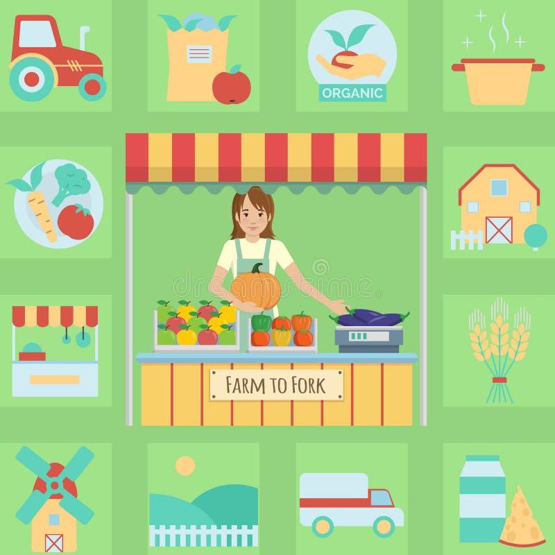 Rolnika rynku kramu ilustracja i ikona set royalty ilustracja