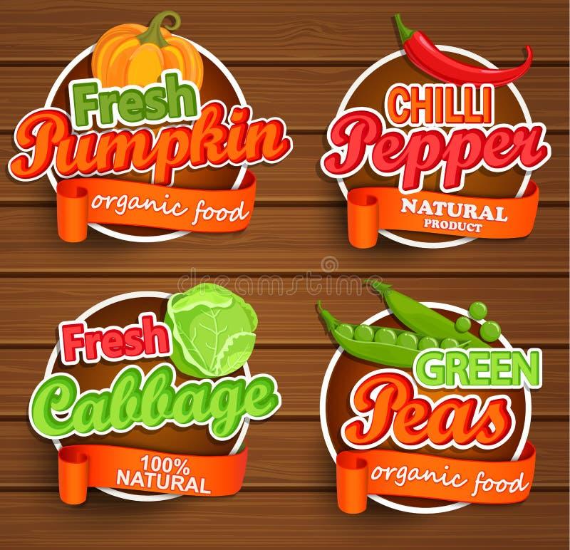 Rolny świeży, żywności organicznej etykietka wektor ilustracji