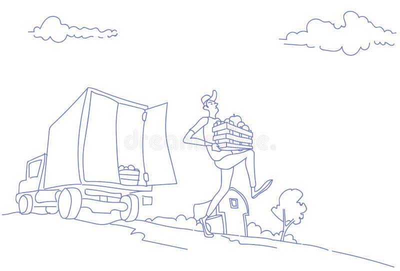 Rolny żniwo transportu ciężarówki przewożenia owoc warzyw pojęcia kuriera szybki doręczeniowy mężczyzna niesie drewnianego pudełk ilustracji
