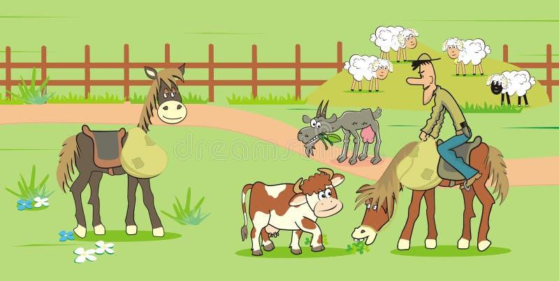 Rolny życie, kowbojska jazda, łydka, kózka i cakle, ilustracji