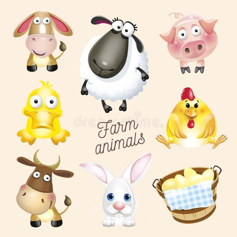Rolny życie Kreskówki zabawy zwierzęta gospodarskie ustawiający Wektorowa ilustracja, odizolowywająca na białym tle ilustracji