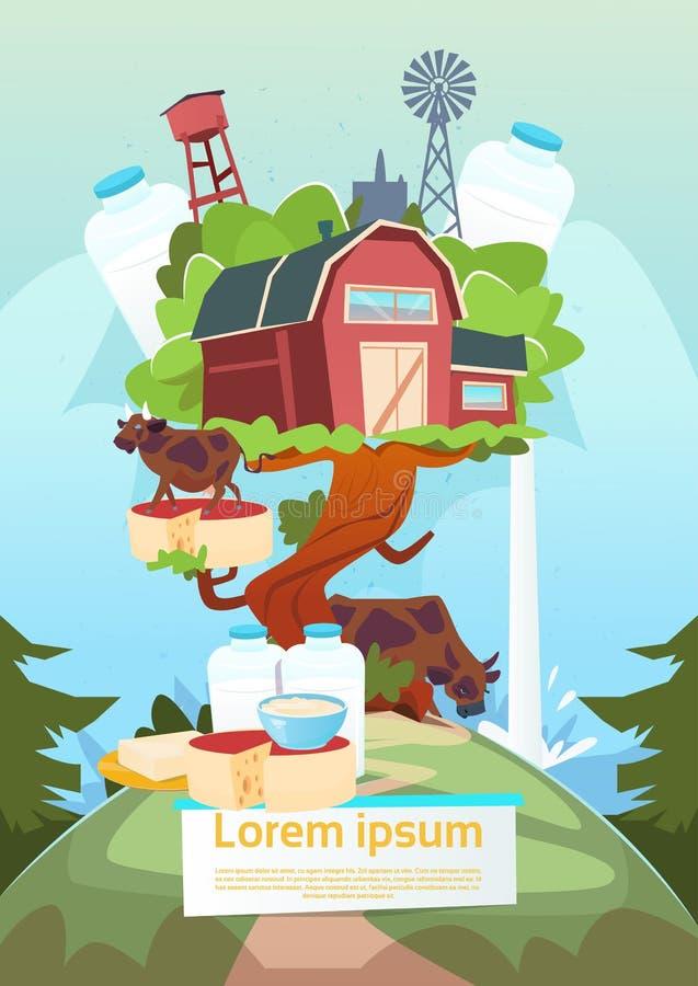 Rolny dom Na Dużej Drzewnej Środowiskowej ziemi uprawnej, Organicznie Eco Świeży royalty ilustracja