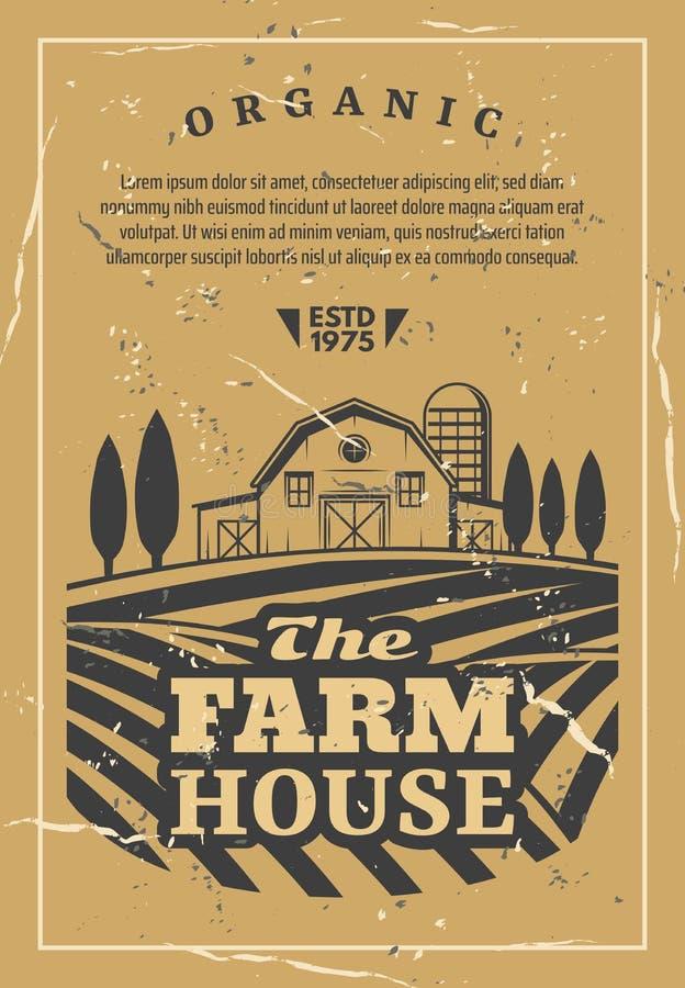 Rolny dom z śródpolnym starym retro wektorowym plakatem ilustracji