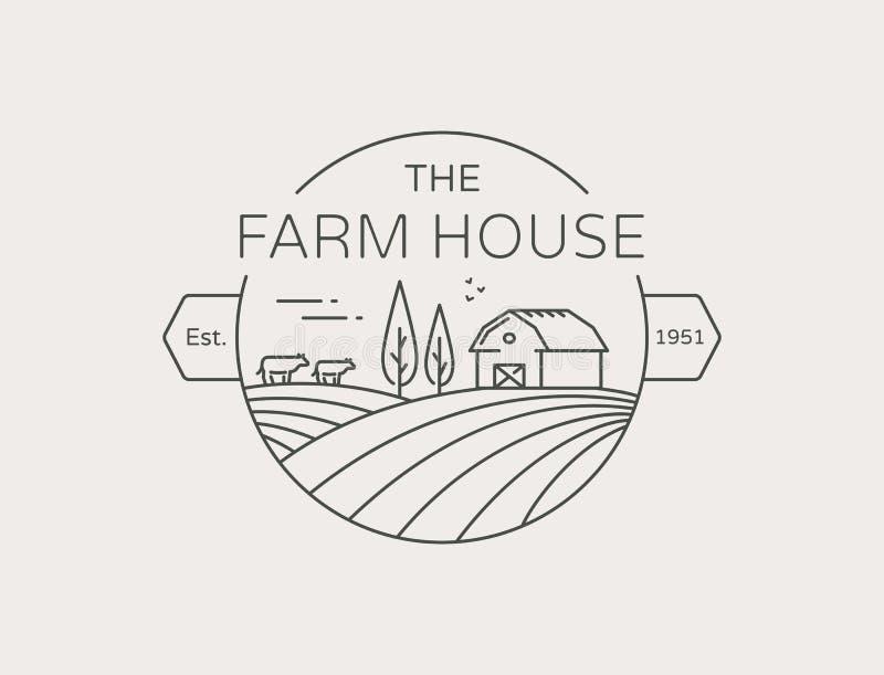 Rolny Domowy konturu logo Wektoru kreskowy emblemat ilustracji