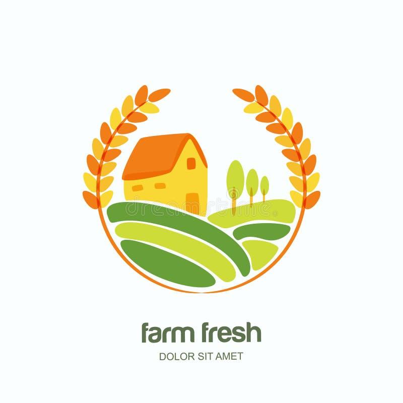 Rolny i uprawiający ziemię loga, etykietka, emblemata projekt Ilustracja pszeniczni pola ilustracja wektor