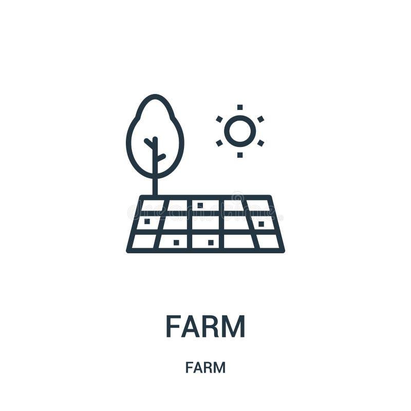 rolny ikona wektor od rolnej kolekcji Cienka linii gospodarstwa rolnego konturu ikony wektoru ilustracja Liniowy symbol dla używa royalty ilustracja