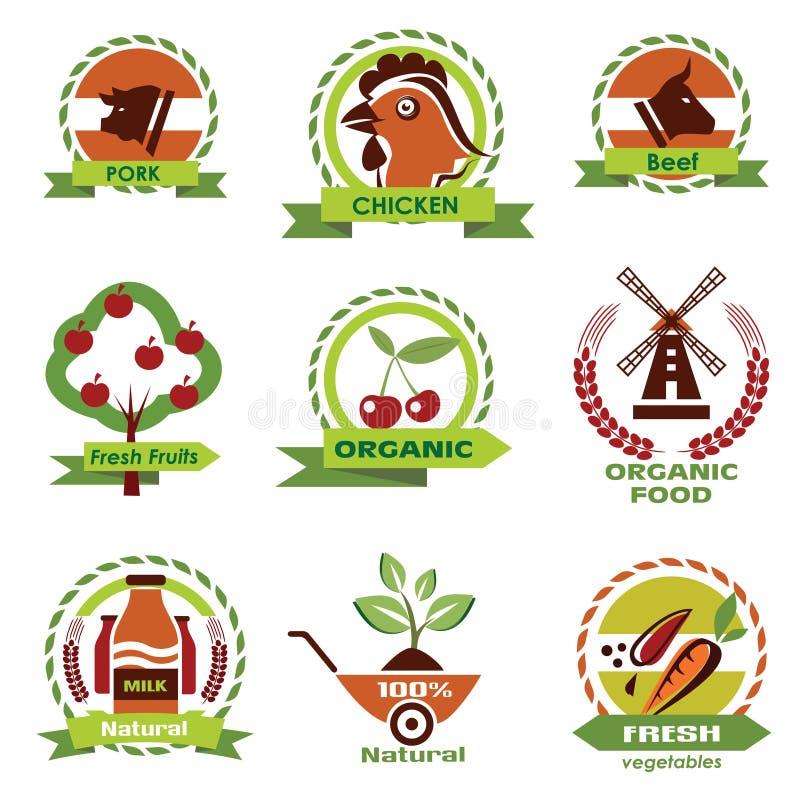 Rolny jedzenie, rolnictwo ikony ilustracji