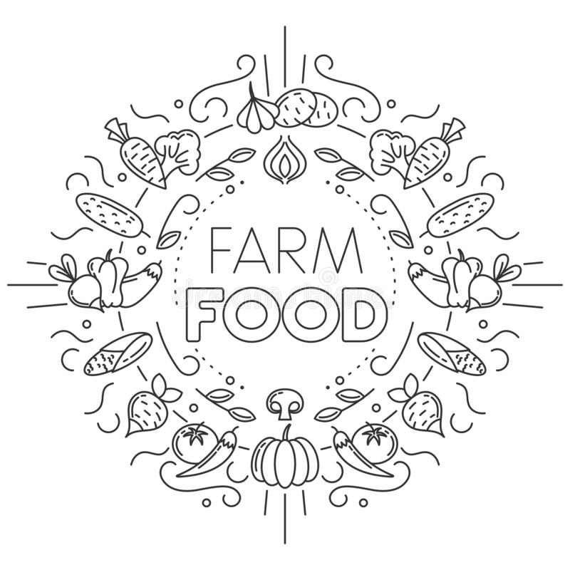 Rolny jedzenie Set różne warzywo ikony na białym tle ilustracji