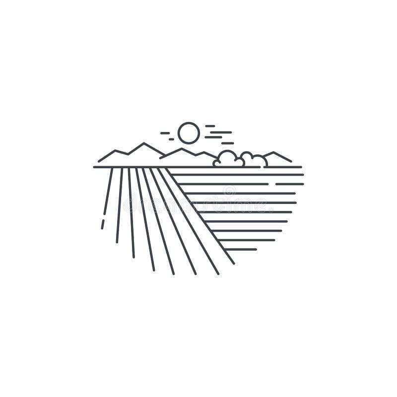 Rolny krajobraz, śródpolnej linii ikona Zarysowywa ilustrację pszenicznego pola wektorowy liniowy projekt odizolowywający na biał royalty ilustracja
