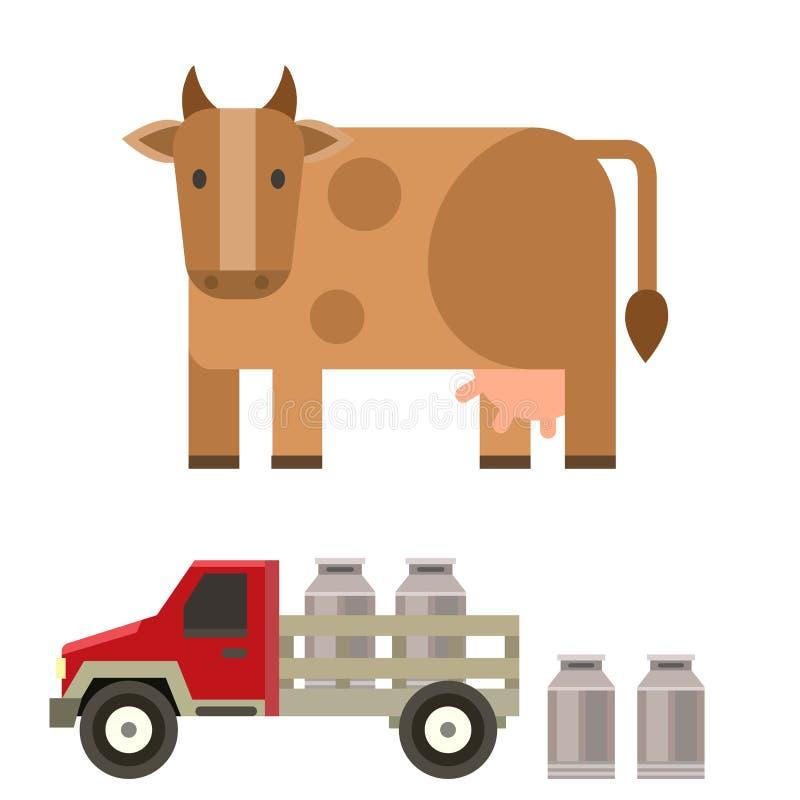 Rolny krowy i byka natury wektorowego ilustracyjnego rolnictwa samochodowy zwierzęcy charakter ilustracja wektor