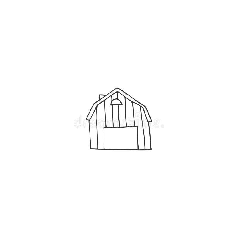 Rolny logo element Wektorowa ręka rysująca stajnia ilustracji